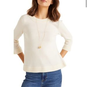 Boden Worcester Swing Ivory Sweater. XS